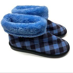 Vera Bradley   Blue & Black Plaid Bootie Slippers
